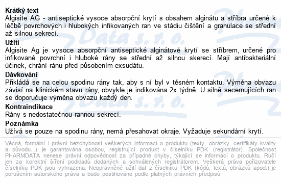 Algisite Ag kytí alginátové se stříb.10x10cm 10ks