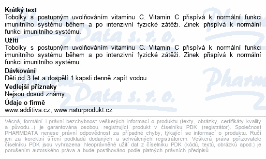Additiva vitamin C + zinek 33% gratis cps.80