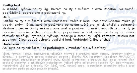 A-DERMA Tyčinka na rty 4g