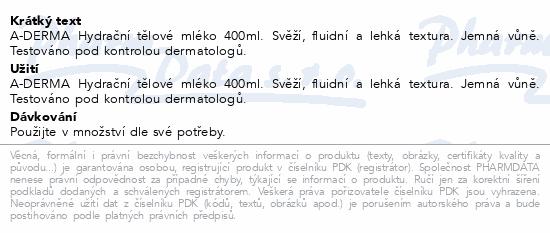 A-DERMA Hydratační tělové mléko 400ml