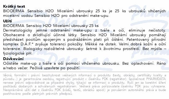 BIODERMA Sensibio H2O Micelární ubrousky 25ks