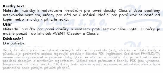 AVENT Hubičky pro 1.doušky Classic 2ks