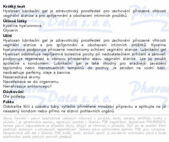 Hyalosan lubrikační gel 50ml Dr.Müller