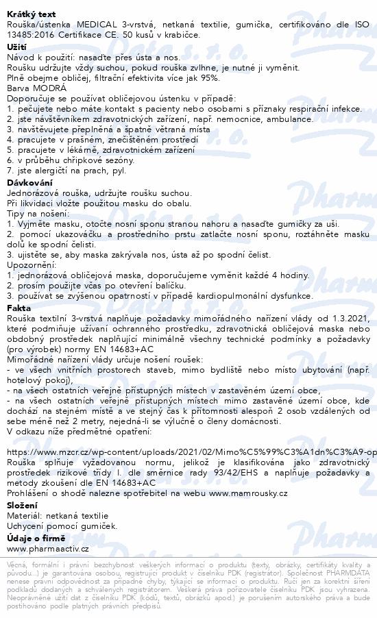 Rouška ústenka MEDICAL 3-vrstvá jednorázová 50ks