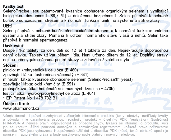 Bioaktivní SelenoPrecise 100mcg tbl.60