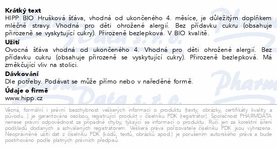 HiPP ŠŤÁVA BIO Hrušková šťáva 200ml