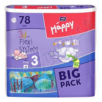 Happy Midi dětské pleny 78ks