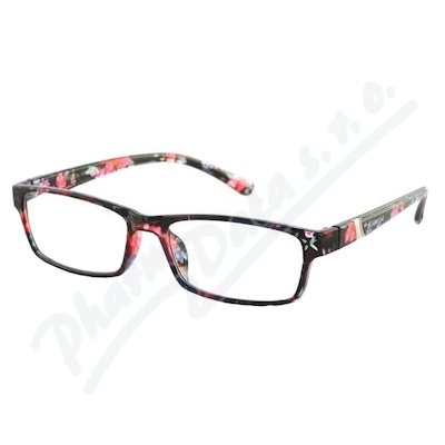 Brýle čtecí +3.00 černo-květinové
