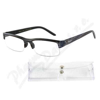 Brýle čtecí +2.00 černé s pruhy a pouzdrem