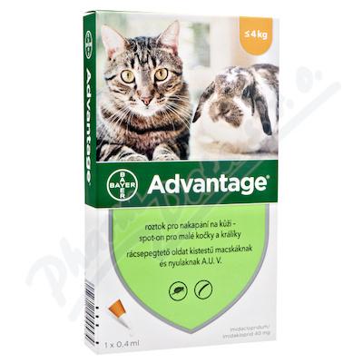Advantage 40mg malé kočky+králíci spot-on 1x0.4ml