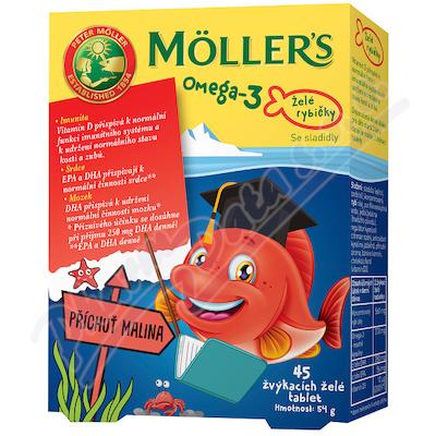Mollers Omega 3 Želé rybičky 45ks malinová příchuť